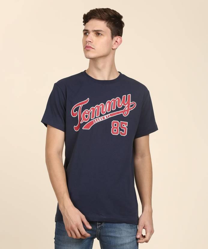 43272ebd Tommy Hilfiger Printed Men Round Neck Dark Blue T-Shirt - Buy Tommy  Hilfiger Printed Men Round Neck Dark Blue T-Shirt Online at Best Prices in  India ...