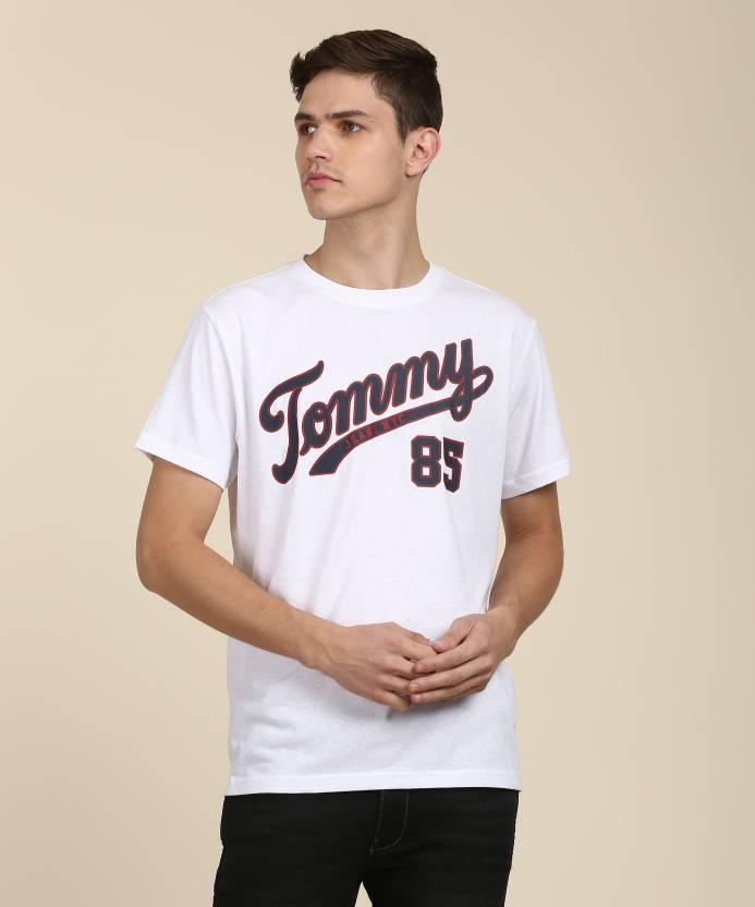 fc698606c Tommy Hilfiger Printed Men Round Neck White T-Shirt - Buy Tommy Hilfiger  Printed Men Round Neck White T-Shirt Online at Best Prices in India |  Flipkart.com