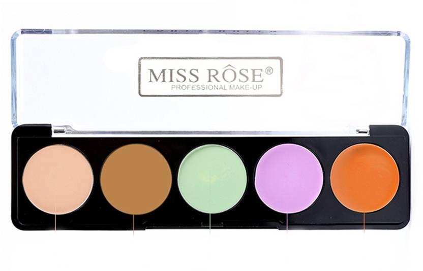 miss rose 5 Colors Makeup Face Cream Contour Palette Kit Concealer Bronzer Highlighter Set Concealer (Cream Contour Concealer palette kit 02)