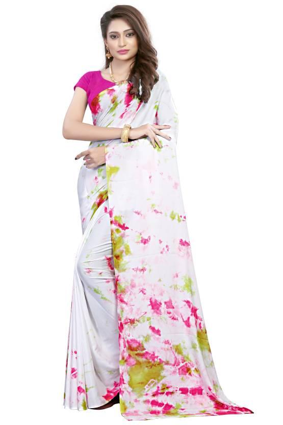 ec19d3d5cc0156 Saree Museum Printed, Dyed Gajee Satin, Silk Saree (Multicolor, White,  Pink, Green)