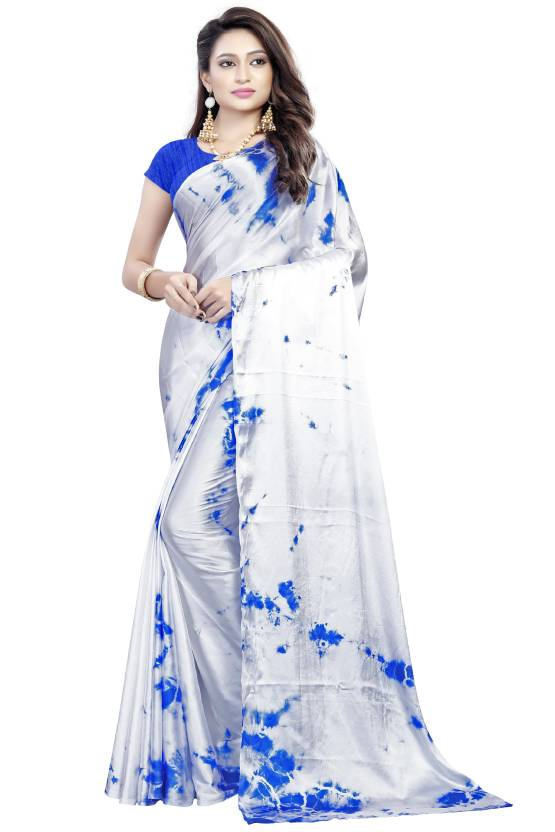 1423aef582 Buy Saree Museum Printed, Dyed Gajee Satin, Silk Blue, White Sarees ...