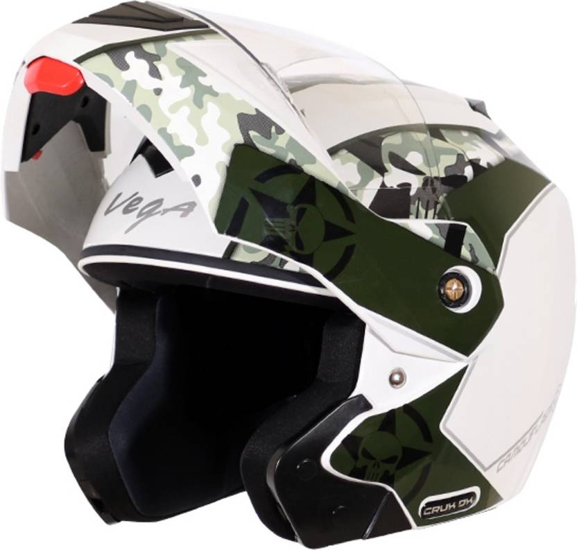 405c61e2 VEGA CAMFOULAGE CRUX DX WHITE BATTLE GREEN Motorbike Helmet (WHITE BATTLE  GREEN)