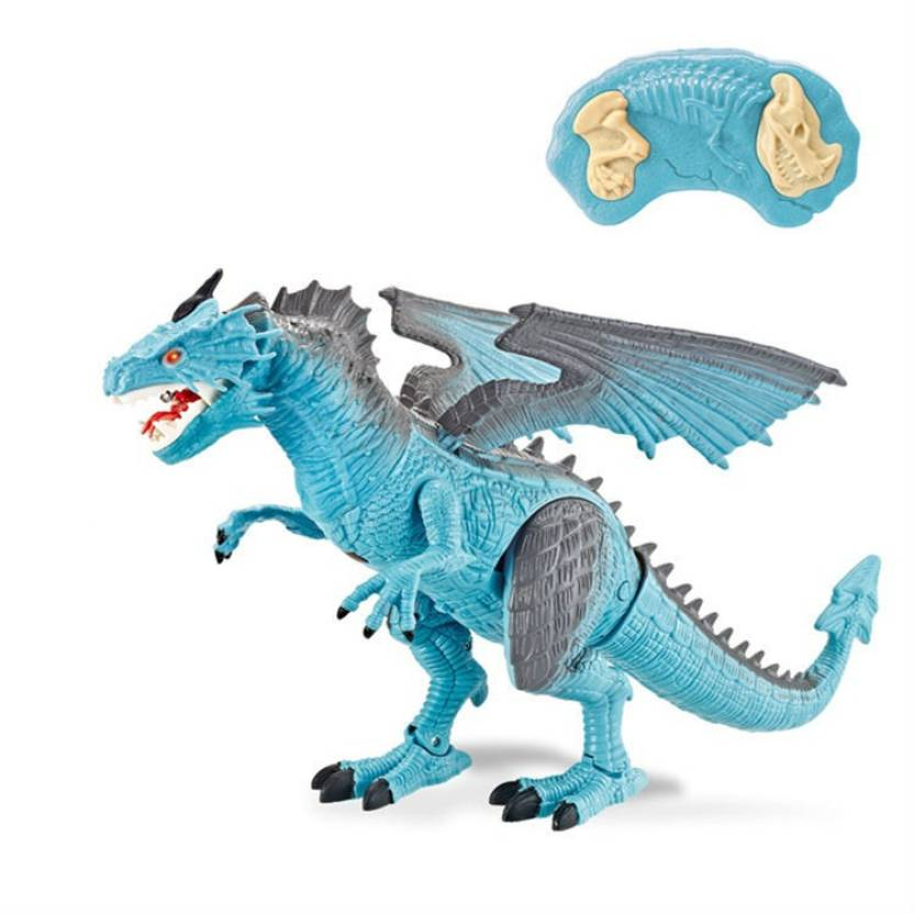 732f80ee9ab91 Shrih Remote Control Walking Robot Dinosaur with Wings + Head Movement Fire  Dragon for Kids(Blue) (Blue)