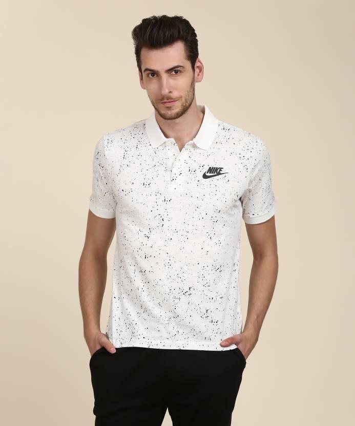 c37e71e2c247 Nike Printed Men Polo Neck White T-Shirt - Buy Nike Printed Men Polo Neck  White T-Shirt Online at Best Prices in India