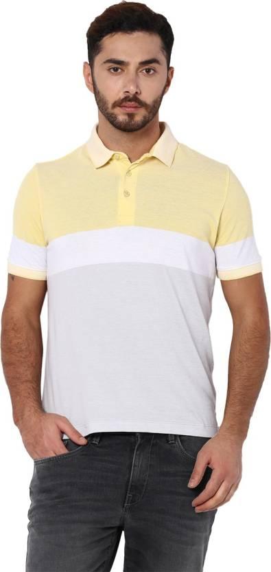 d5b3d52de203d Van Heusen Sport Striped Men s Polo Neck Yellow T-Shirt - Buy yellow Van  Heusen Sport Striped Men s Polo Neck Yellow T-Shirt Online at Best Prices  in India ...