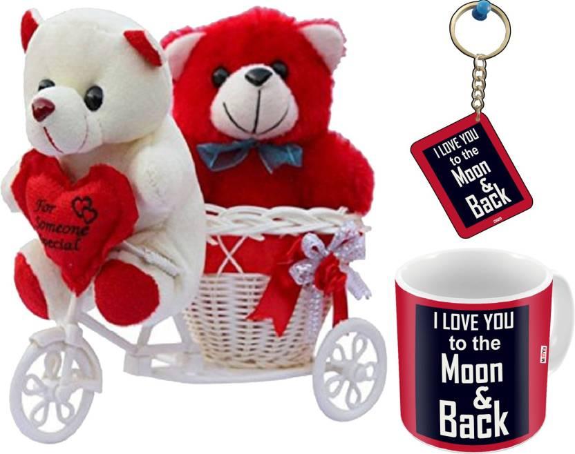 MEYOU Romantic Cycle Teddy Gifts For Wife Girlfriend On Birthday Anniversary Karwa Chauth Valentines Day IZ18MK White 22 Soft Toy Mug