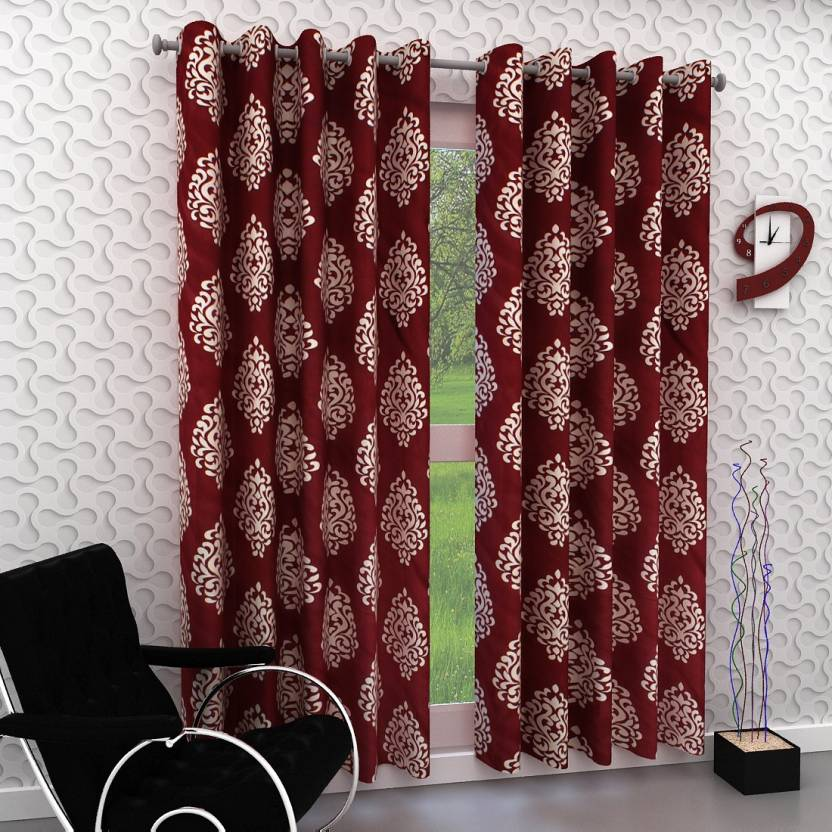 Panipat Textile Hub 108 cm  3 ft  Polyester Long Door Curtain  Pack Of 2  Printed, Maroon