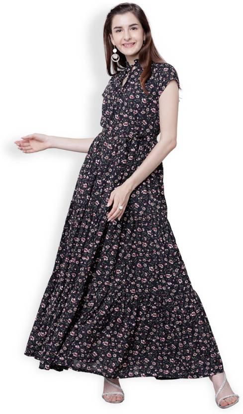 bd5fb5ce3 Tokyo Talkies Women s Maxi Dark Blue Dress - Buy Tokyo Talkies Women s Maxi  Dark Blue Dress Online at Best Prices in India