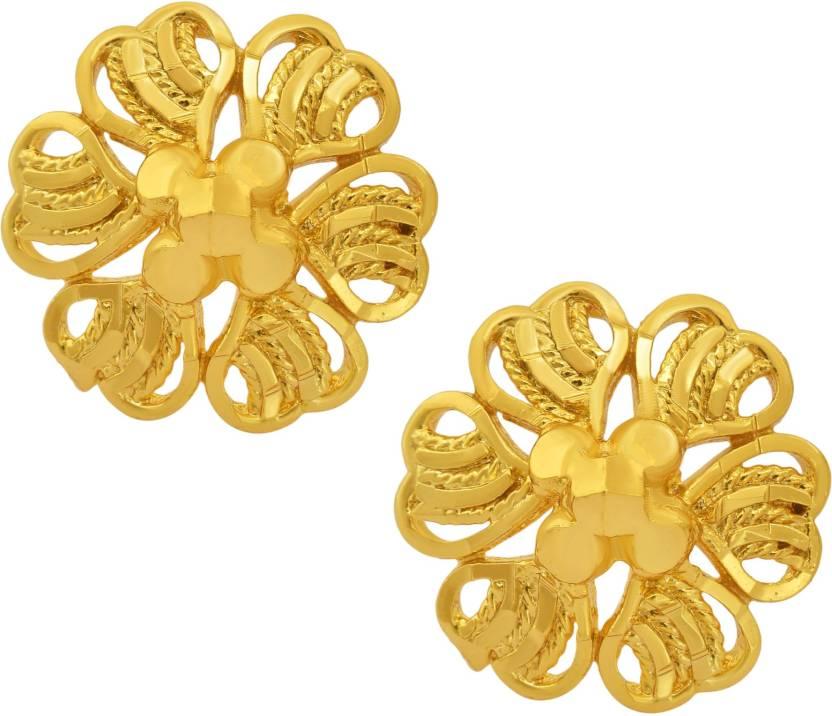 3f4446544 Flipkart.com - Buy Memoir Memoir Gold plated Brass, Heart shaped Flower  petals shaped, Ethnic Stud Earrings Women Fashion, Latest design Brass Stud  Earring ...