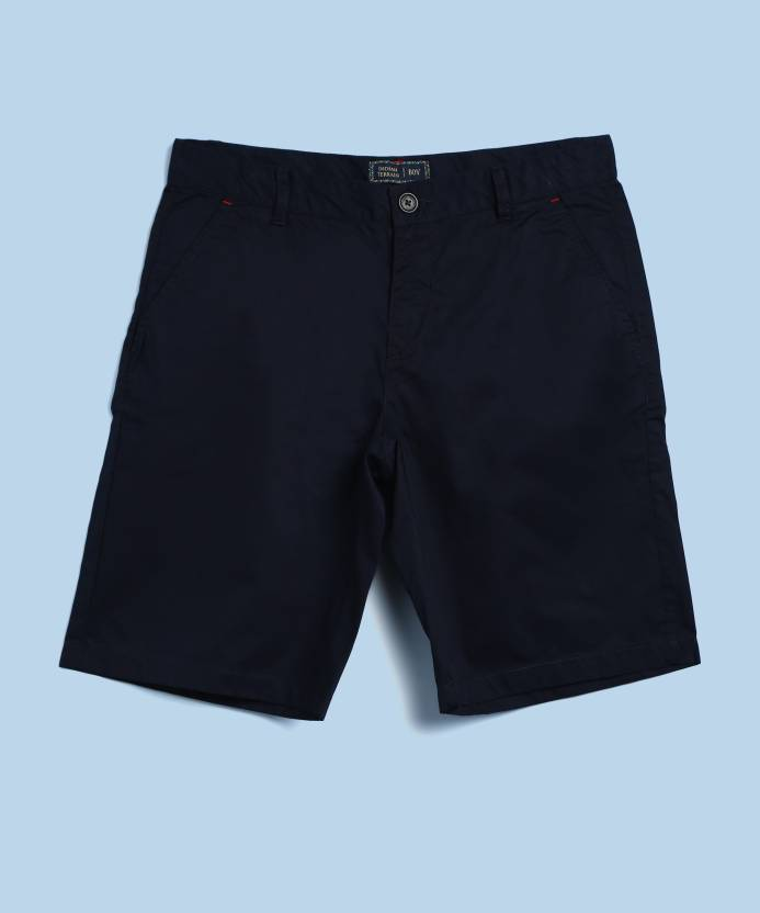 90de4e01 Indian Terrain Short For Boys Casual Solid Cotton (Dark Blue, Pack of 1)