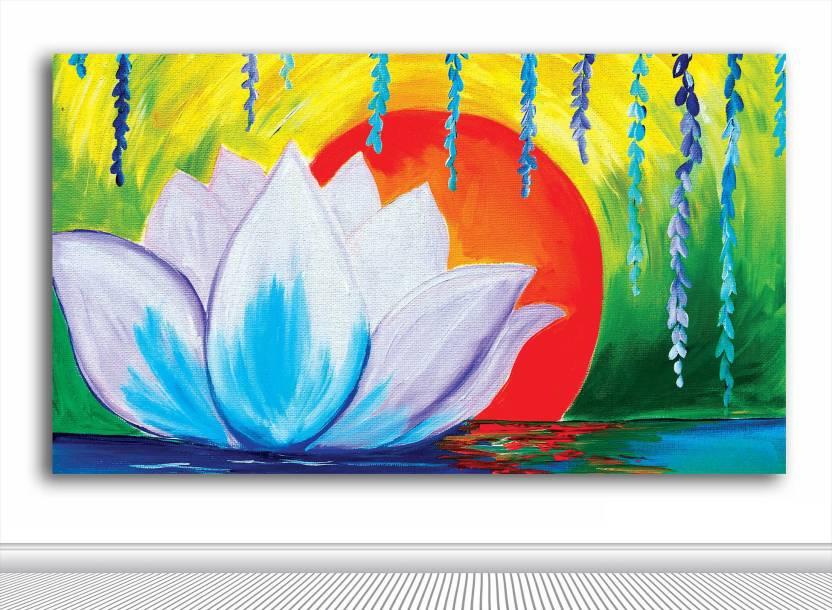 Tamatina Tamatina Canvas Paintings White Lotus In Sunrise Nature