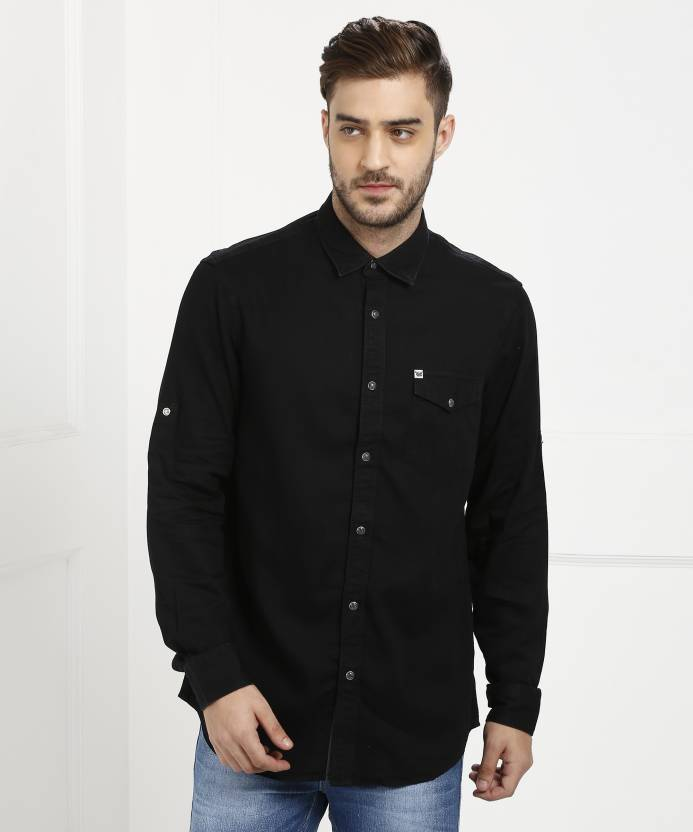 e2c657158a00 ARROW BLUE JEANS CO. Men's Solid Casual Black Shirt - Buy ARROW BLUE JEANS  CO. Men's Solid Casual Black Shirt Online at Best Prices in India |  Flipkart.com