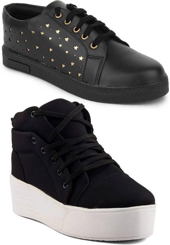 d9b74c1bb9f Longwalk Combo Pack of 2 Girls High Heel Sneaker   Golden Star Sneakers For  Women