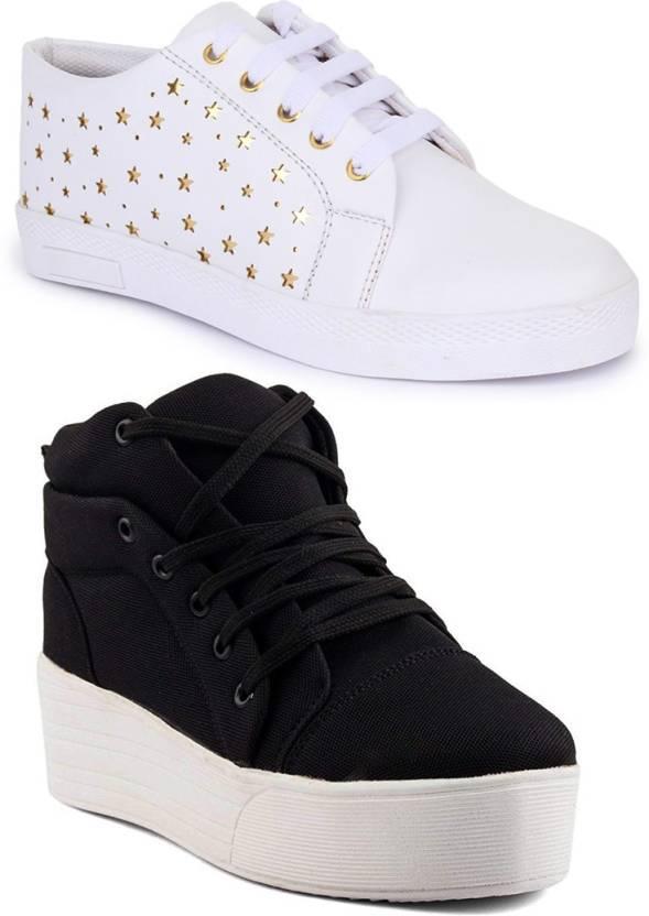 fe04cbd16dc Longwalk Combo Pack of 2 Girls High Heel Sneaker & Golden Star Sneakers For  Women
