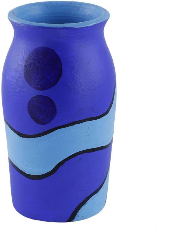 Ekolhapuri Ekolhapuri Hand Painted Blue Modern Art Terracotta Round