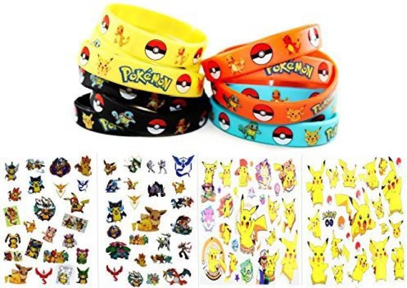 assortmart 24 pokemon bracelets and temporary tattoo sheet