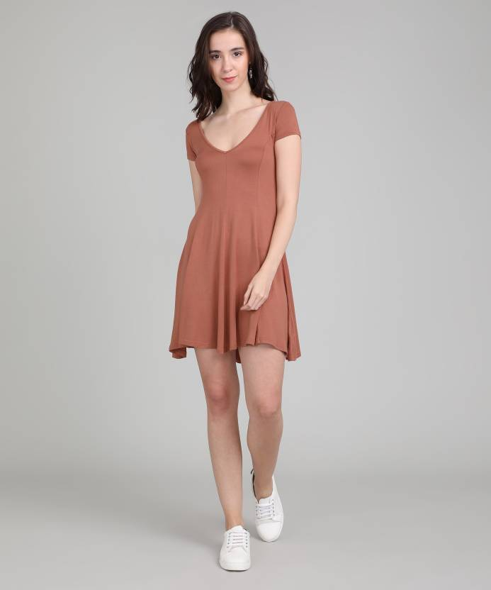 4dd368b4d1d Forever 21 Women s Fit and Flare Orange Dress - Buy SANGRIA Forever 21  Women s Fit and Flare Orange Dress Online at Best Prices in India