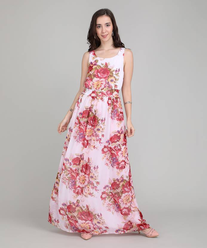 6979ae55d Harpa Women s Maxi Pink Dress - Buy White Harpa Women s Maxi Pink Dress  Online at Best Prices in India