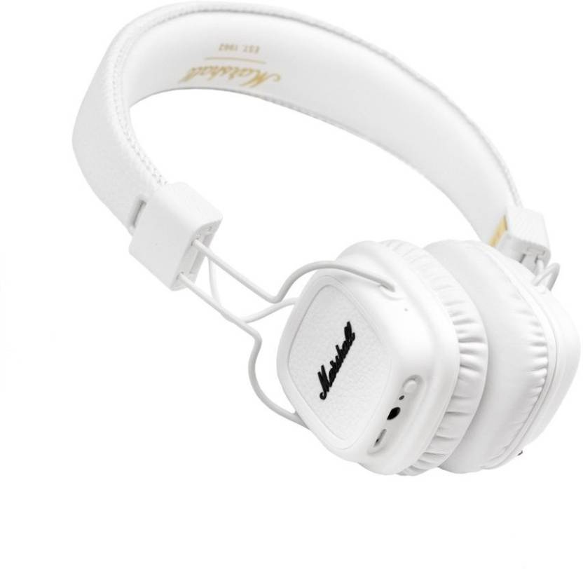 906bff84e56 Marshall Major II Bluetooth On-Ear Headphone White Bluetooth, Wired Headset  with Mic (White, On the Ear)