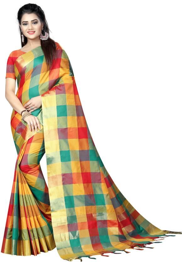 0ba266f9a Buy SILK ZONE Checkered Fashion Cotton Multicolor Sarees Online ...