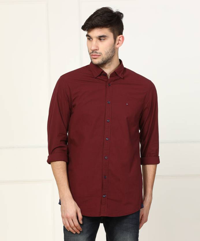 faf08a5b Tommy Hilfiger Men Self Design Casual Maroon Shirt - Buy Tommy Hilfiger Men  Self Design Casual Maroon Shirt Online at Best Prices in India |  Flipkart.com