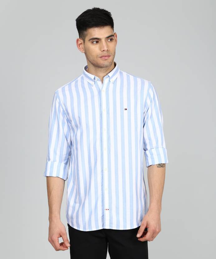 e5c3a3aa1d9 Tommy Hilfiger Men Striped Casual Light Blue
