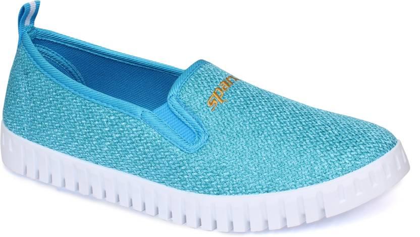 592029408566 Sparx Women SL-114 Sky Blue White Slip On Sneakers For Women (Blue, White)