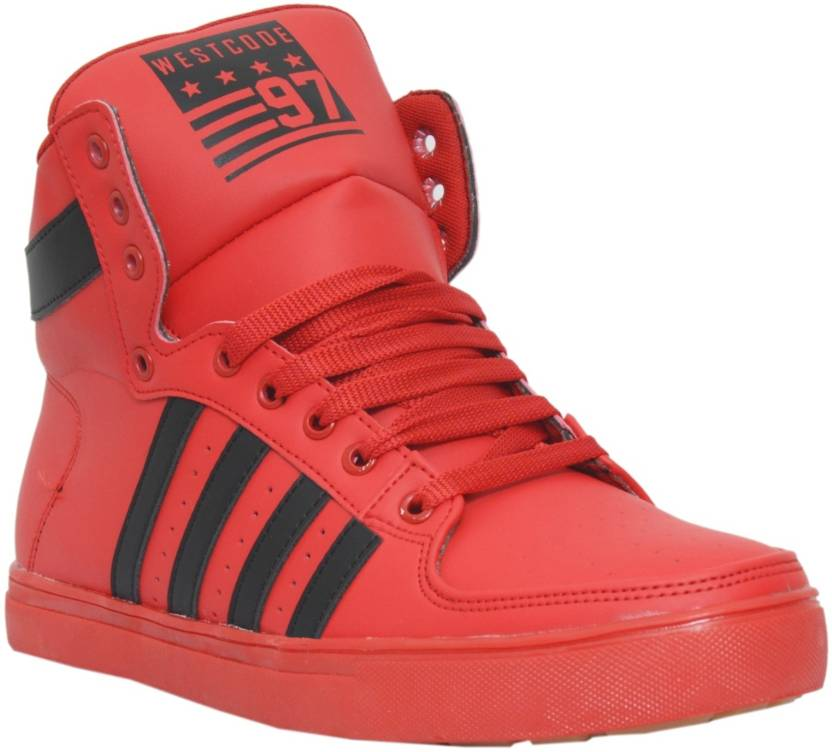 267a832b9a6c21 West Code Men s Synthetic Leather Casual Shoes 6030-Red-7 Sneakers For Men  (Red