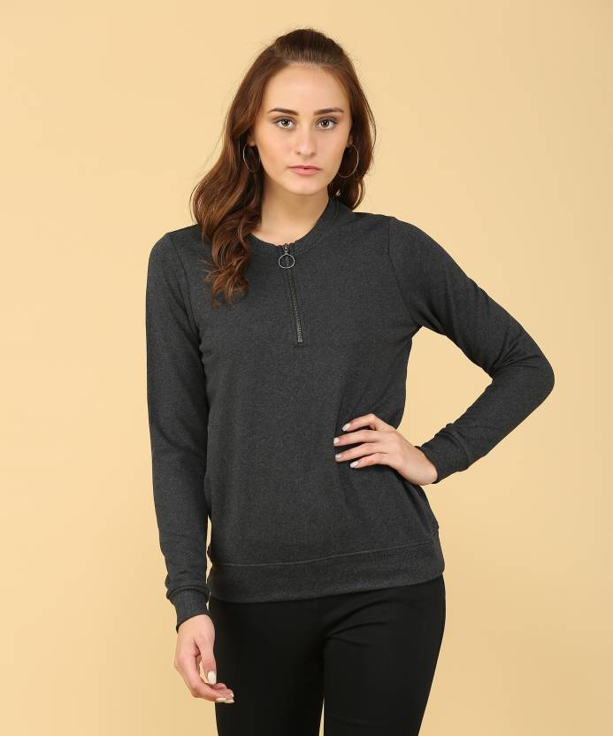 381e07b15ce384 Jockey Full Sleeve Solid Women Sweatshirt - Buy Black Melange Jockey Full  Sleeve Solid Women Sweatshirt Online at Best Prices in India
