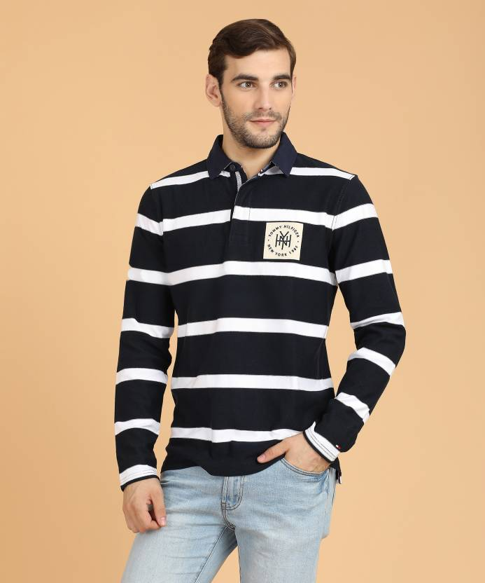 f6533605 Tommy Hilfiger Striped Men's Polo Neck White, Dark Blue T-Shirt - Buy  Multicolor Tommy Hilfiger Striped Men's Polo Neck White, Dark Blue T-Shirt  Online at ...