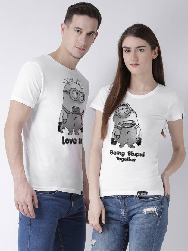 bf4f9ee13 DUO COUPLE Printed Men & Women Round Neck White T-Shirt - Buy DUO COUPLE  Printed Men & Women Round Neck White T-Shirt Online at Best Prices in India  ...