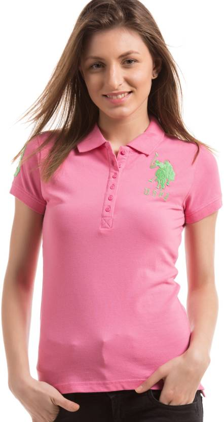 f4a458c3 U.S. Polo Assn Solid Women Polo Neck Pink T-Shirt - Buy U.S. Polo Assn  Solid Women Polo Neck Pink T-Shirt Online at Best Prices in India    Flipkart.com