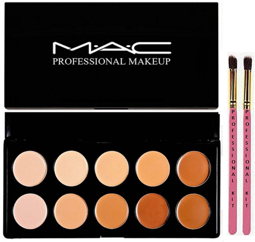 Professional kit two makeup brush with mac makeup 10 shades concealer palette (Set of 3)