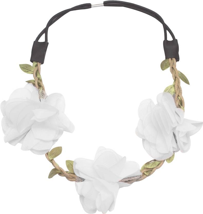 Stoln Elastic White Flower White Tiara Hairband White Hair Band