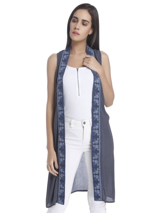 8e8c85dbc1282f Vero Moda Sleeveless Embroidered Women s Jacket - Buy Blue Vero Moda  Sleeveless Embroidered Women s Jacket Online at Best Prices in India