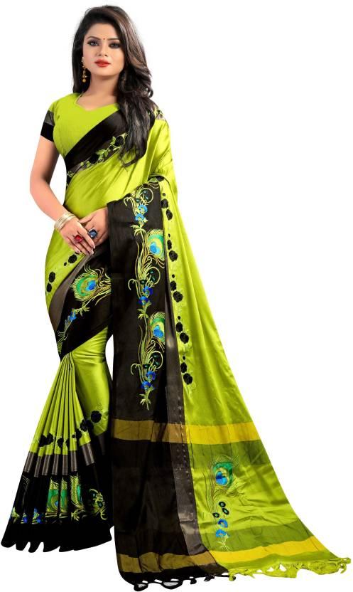 836a9c5d066512 Buy MomCreation Embroidered Bollywood Kota Cotton Light Green Sarees ...
