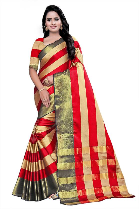f77741632dbe38 Buy Ecolors Fab Striped Fashion Tussar Silk Gold Sarees Online ...