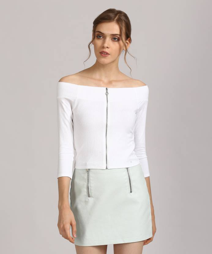 6ec360447d6 Forever 21 Casual 3 4th Sleeve Striped Women s White Top - Buy WHITE  Forever 21 Casual 3 4th Sleeve Striped Women s White Top Online at Best  Prices in India ...