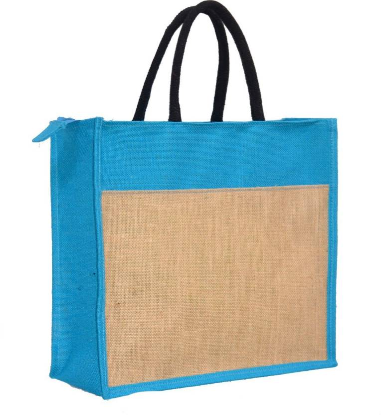 583fac4fc AGGDA Plain Jute Burlap Large Size handbag Bag working office bag to carry  Grocery or box files for office (Blue) Waterproof Lunch Bag (Blue