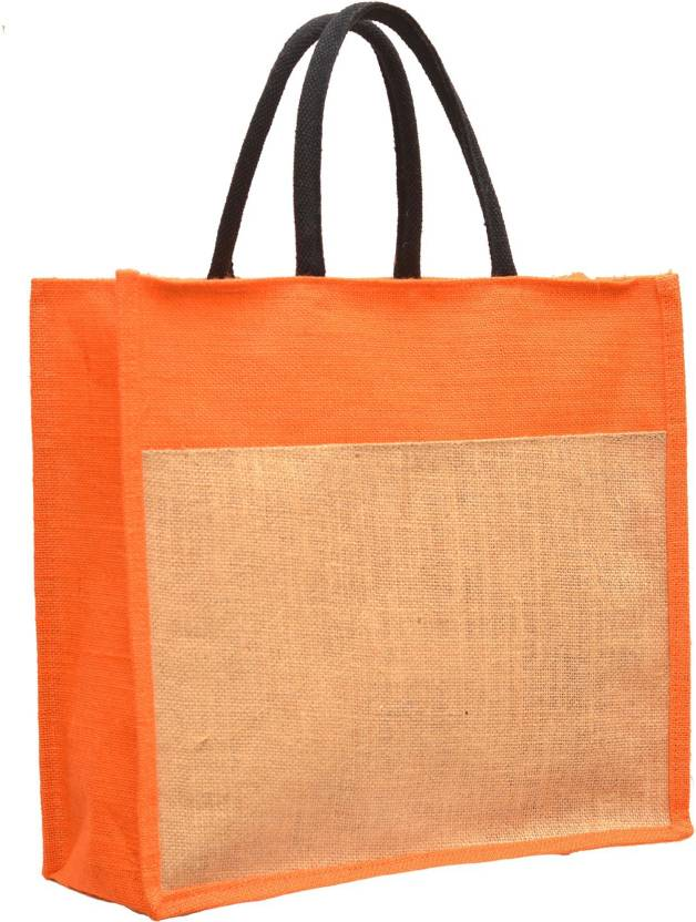cc3483015 AGGDA Plain Jute Burlap Large Size handbag Bag working office bag to carry  Grocery or box files for office (Orange) Waterproof Lunch Bag (Orange