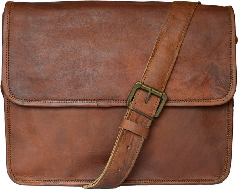 166d094a3 The Artists Creation Unisex Laptop bags Genuine Leather Vintage Style  Medium Size Office/School/College/Workplace Messenger Bag (Brown, 9 L)