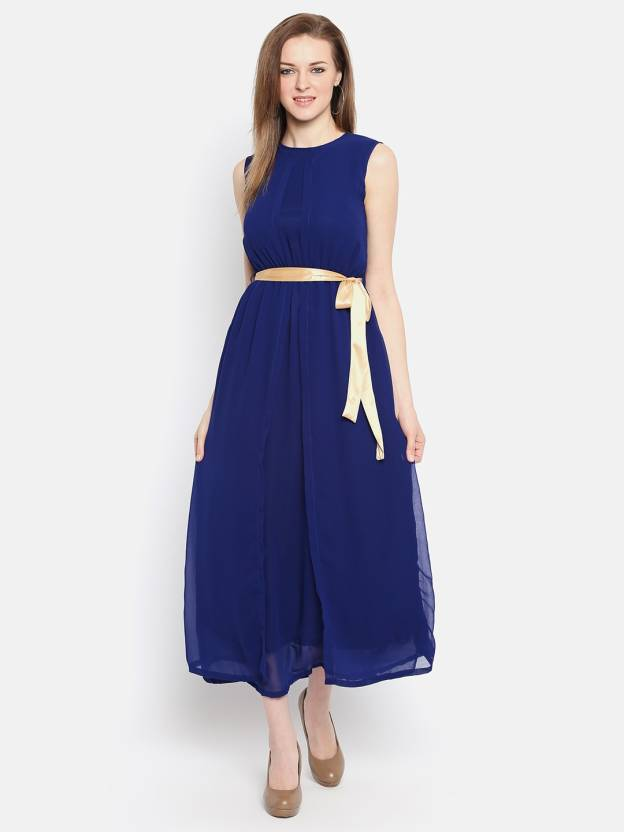 b16fe169f1f6c Ishin Women s Maxi Blue Dress - Buy Ishin Women s Maxi Blue Dress Online at  Best Prices in India