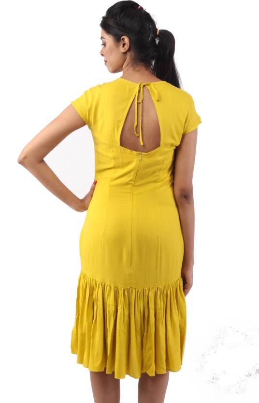 2df2043678 THE 100 DRESSES Women Drop Waist Yellow Dress - Buy THE 100 DRESSES Women  Drop Waist Yellow Dress Online at Best Prices in India