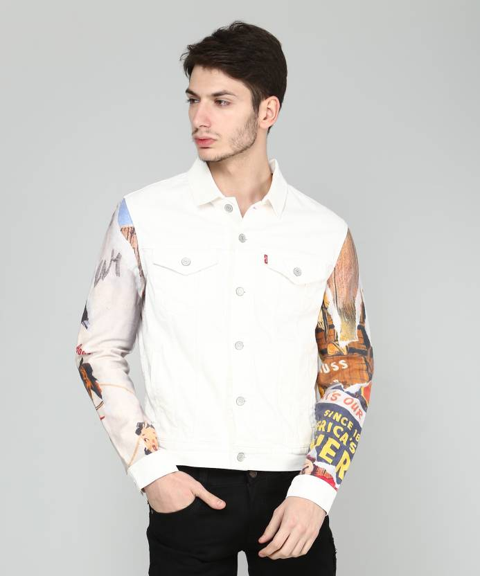 f060aea202 Levi s Full Sleeve Printed Men s Jacket - Buy White Levi s Full Sleeve  Printed Men s Jacket Online at Best Prices in India