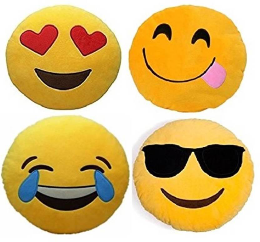 GladSoon INDIA emoji Decorative Cushion Pack of 4  (Yellow)