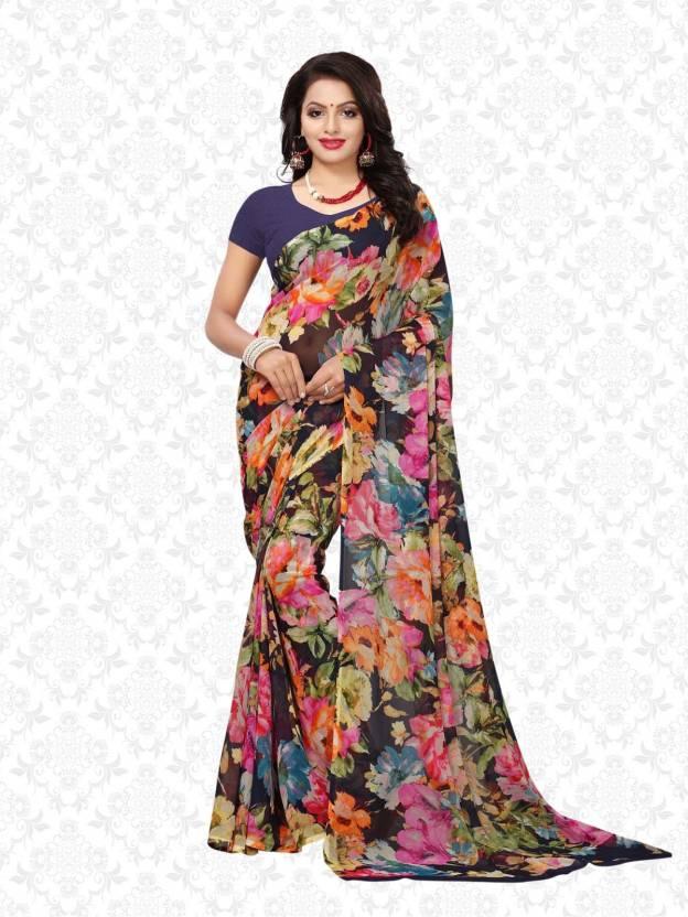 f6cc1e7de9 Buy Divastri Floral Print Daily Wear Georgette Multicolor Sarees ...