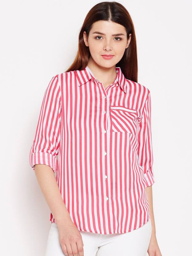 12e49f26f9ca2f AASK Women Striped Casual White, Pink Shirt - Buy AASK Women Striped Casual  White, Pink Shirt Online at Best Prices in India | Flipkart.com