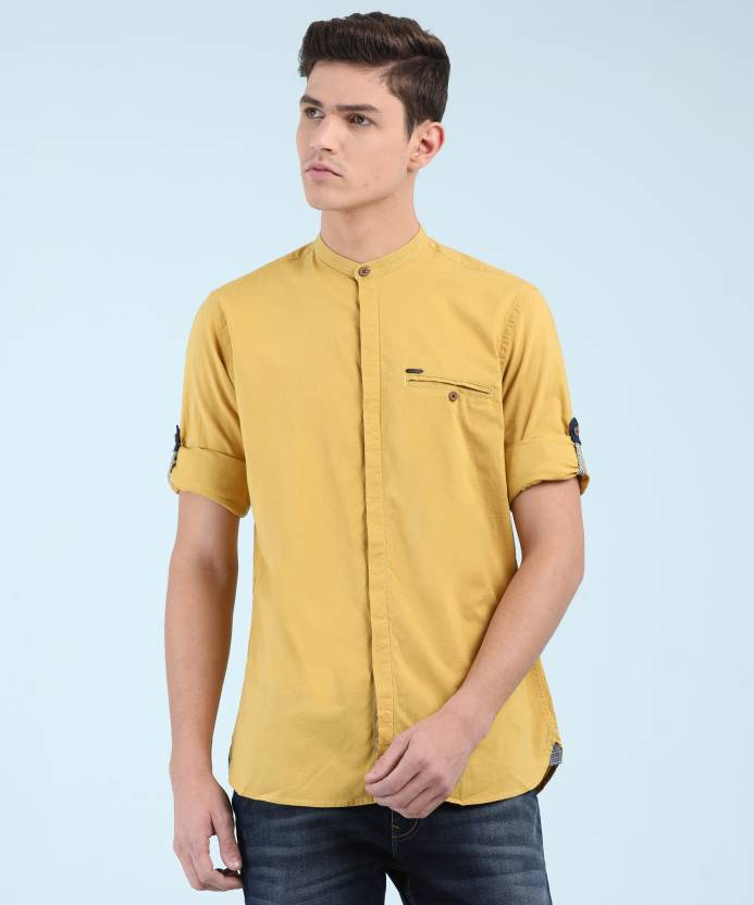 dea50b3b53b0 Peter England Men s Solid Casual Yellow Shirt - Buy Yellow Peter England  Men s Solid Casual Yellow Shirt Online at Best Prices in India