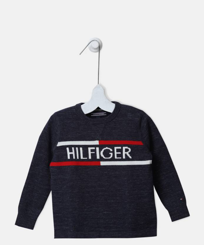 dcb45d033b7c Tommy Hilfiger Self Design Round Neck Casual Boys Blue Sweater - Buy ...