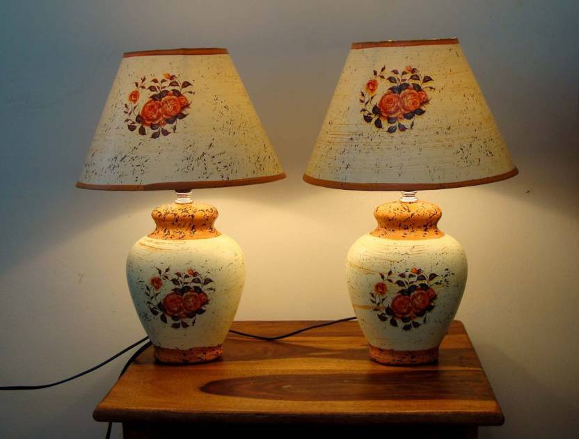 Kamoni Light Yellow Ceramic Table Lamp Pack Of 2 With Shade And Bulb